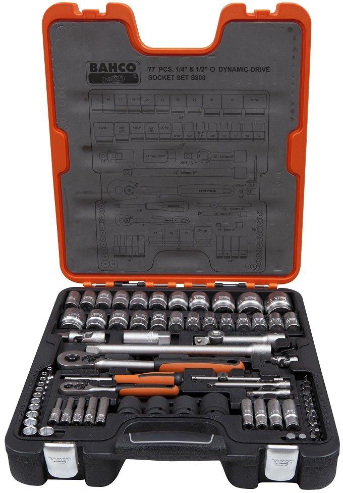 """zestaw kluczy nasadowych metrycznych i calowych 1/4"""" i 1/2"""" 77szt. BAHCO [S800]"""
