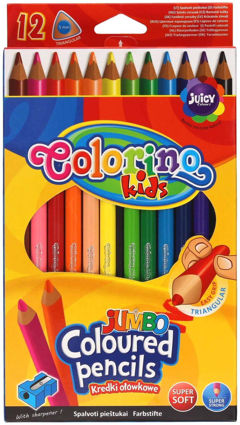 Kredki ołówkowe 12kol trójkątna temperówka Colorino