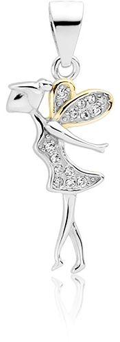 Rodowany srebrny wisior wisiorek wróżka cyrkonia białe cyrkonie srebro 925 Z1600CGR