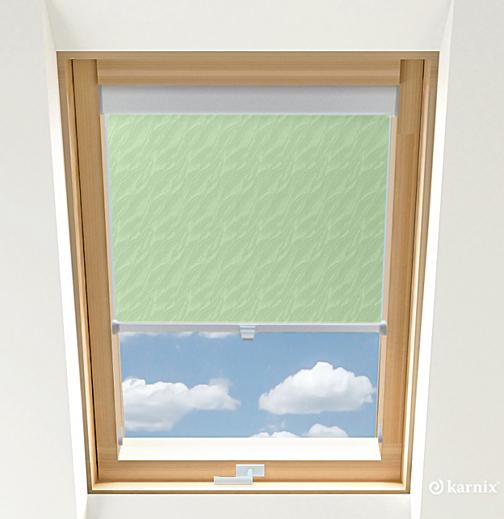 Roleta do okien dachowych BASIC AQUA - Light Green / Srebrny