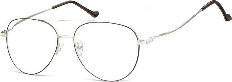Okulary oprawki Pilotki zerówki metalowe korekcyjne 932 srebrne + czarne
