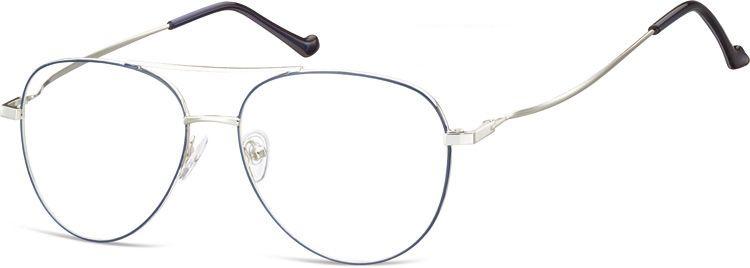 Okulary oprawki Pilotki zerówki metalowe korekcyjne 932A srebrne + niebieskie