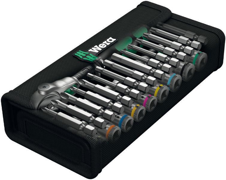 """zestaw 28szt. kluczy nasadowych i końcówek 1/4"""", 5-13mm, Kraftform Kompakt 8100 SA 6 Zyklop Speed 2go Wera [05004016001]"""