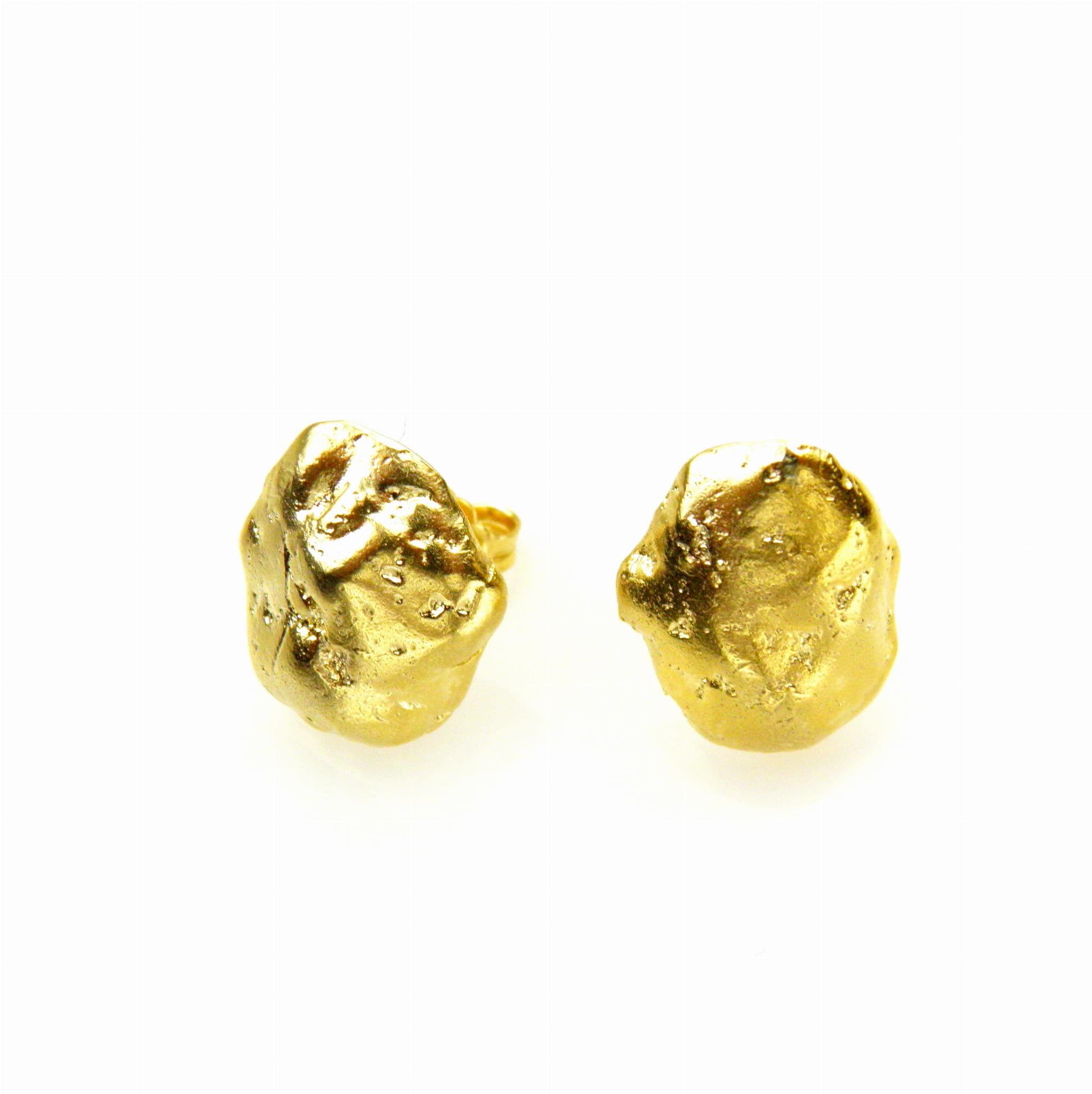 Lawa złota - kolczyki srebrne