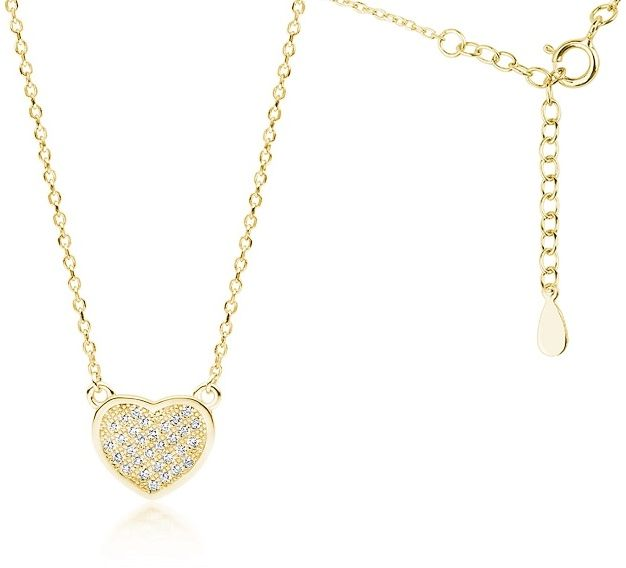 Pozłacany srebrny naszyjnik serce serduszko cyrkonia cyrkonie celebrytka srebro 925 Z1768NG
