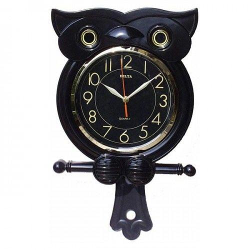 Zegar z wahadłem w kształcie Sowy /czarny