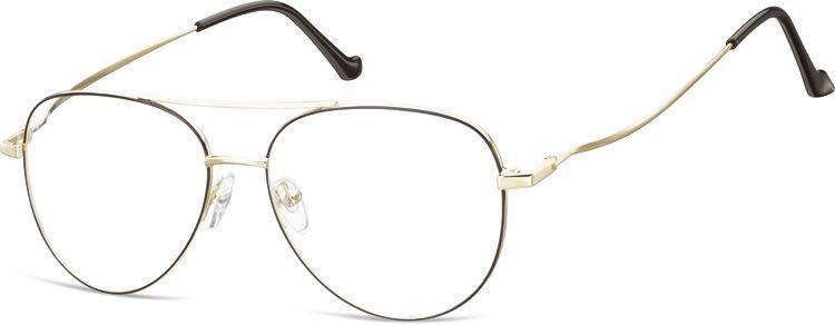 Okulary oprawki Pilotki zerówki metalowe korekcyjne 932C złote + czarne