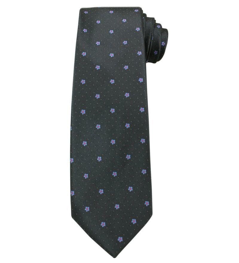 Szary Elegancki Krawat -Angelo di Monti- 7 cm, Męski, Grafitowy, w Fioletowe Kwiatki KRADM1436