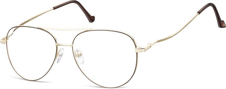 Okulary oprawki Pilotki zerówki metalowe korekcyjne 932D złote + brązowe