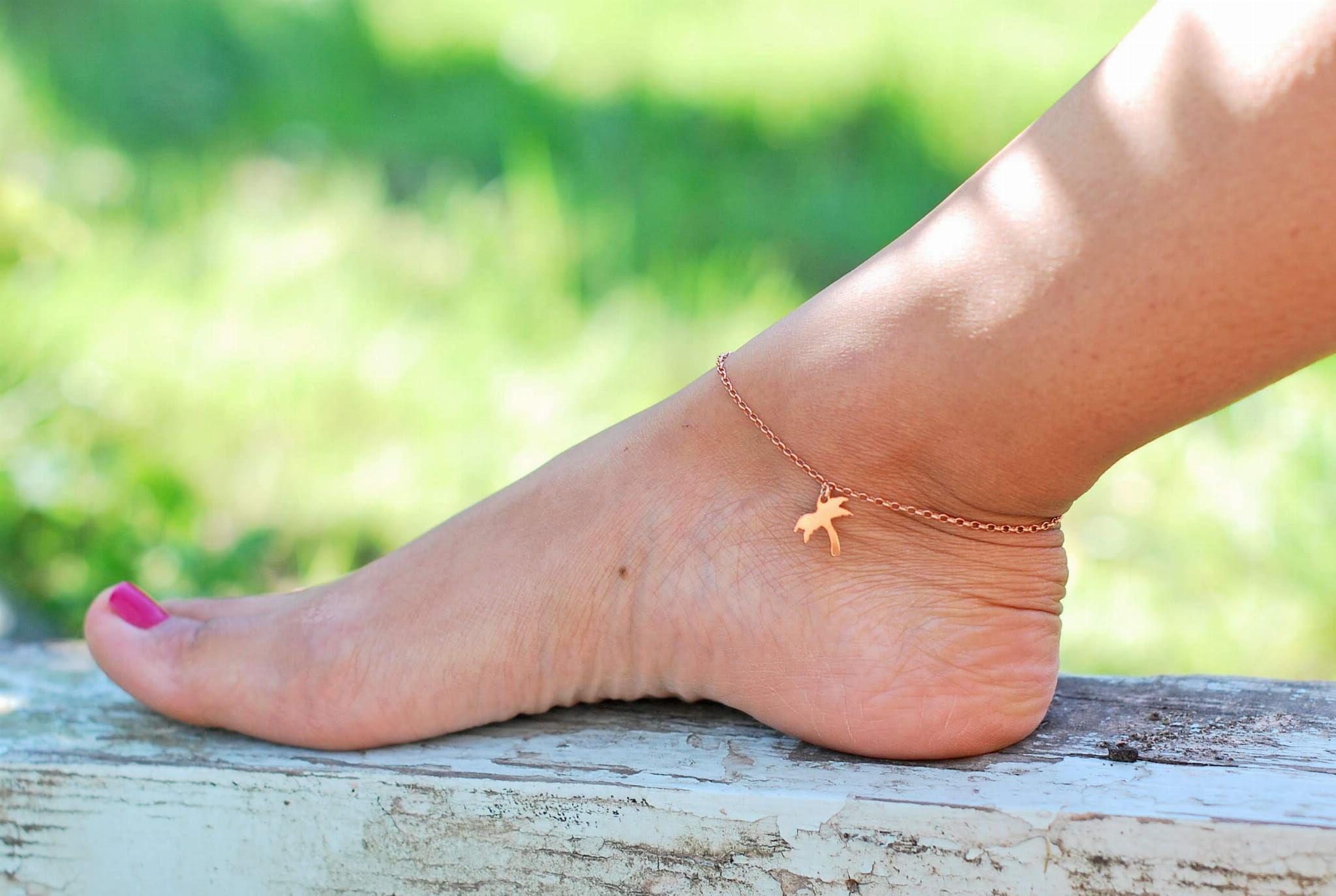 Bransoletka na nogę - palma