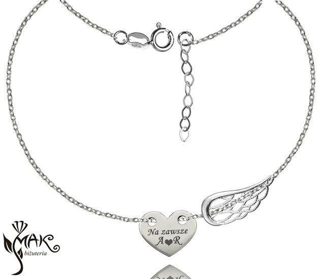BR851 bransoletka grawerunek celebrytka serce skrzydło srebro 925