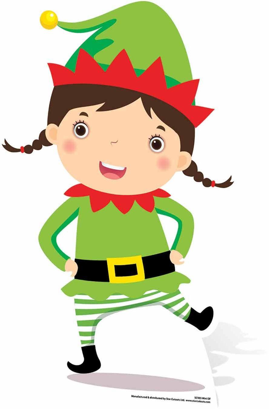 Star Cutouts Ltd SC985 Mini elf karton wycięcie/podpórka/standee idealny na imprezy świąteczne dla dzieci wysokość 82 cm, wielokolorowa