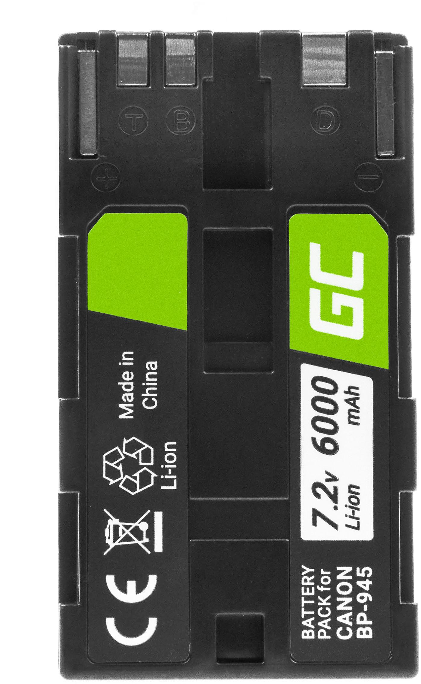 Akumulator Bateria Green Cell  BP-945 BP-911 do Canon ES50 ES55 ES60 ES65 ES75 ES7000V G10 DM-XL1 Full Decoded, 7.2V 6000mAh