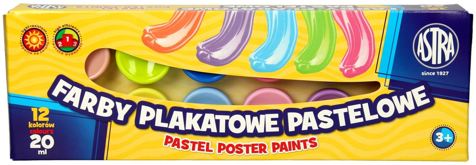 Farby plakatowe 12kol 20ml pastelowe Astra 301118001