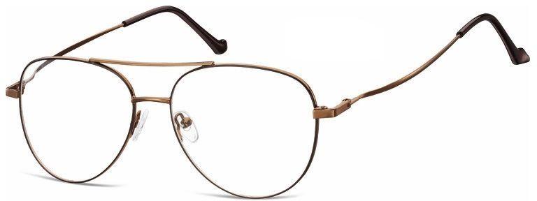 Okulary oprawki Pilotki zerówki metalowe korekcyjne 932G brązowe