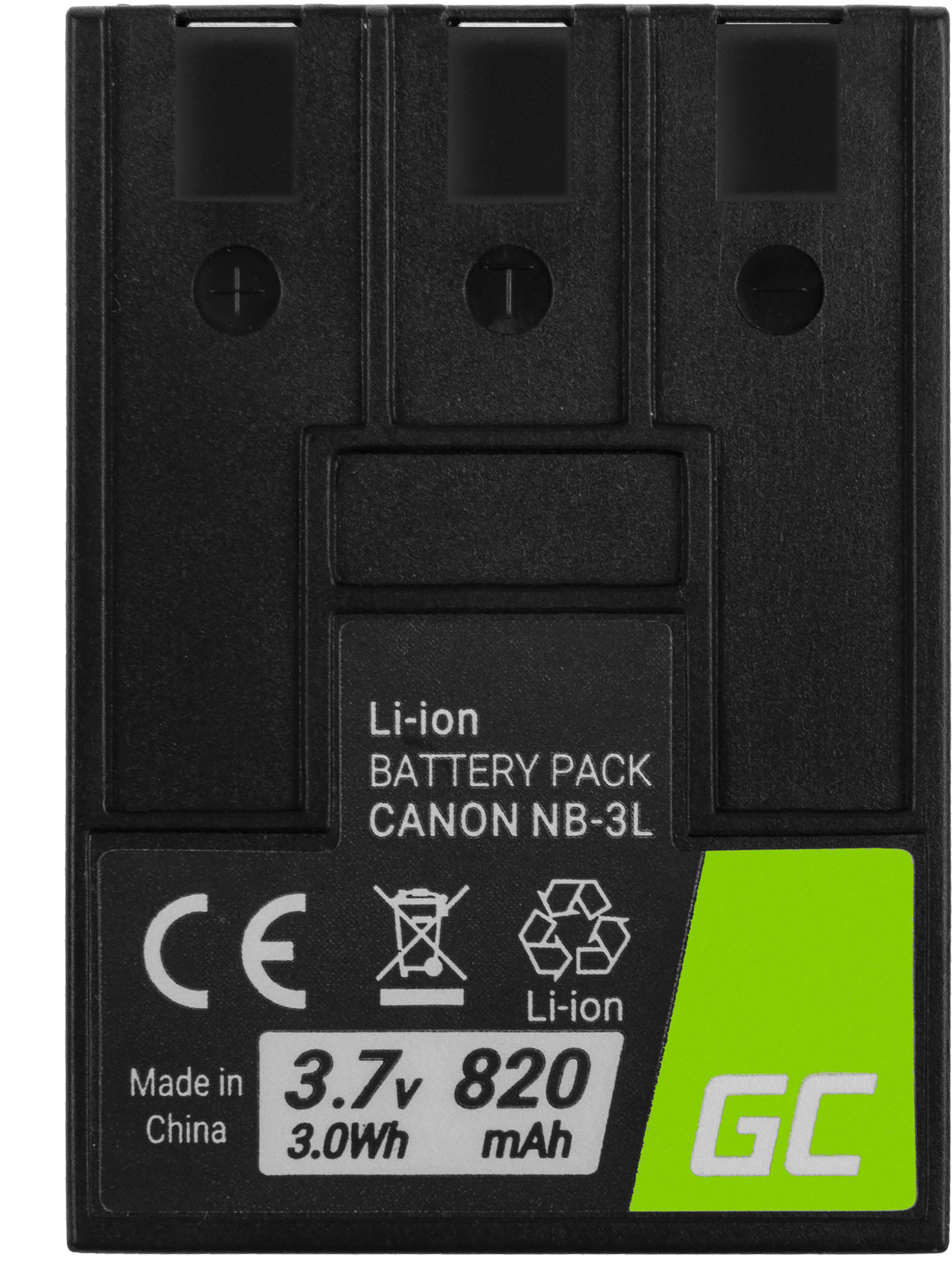 Akumulator Bateria Green Cell  NB-3L do Canon Digital IXUS II/Iis i5 L3 30 D30 600 750 PowerShot SD10 SD100 SD550 3.7V 820mAh