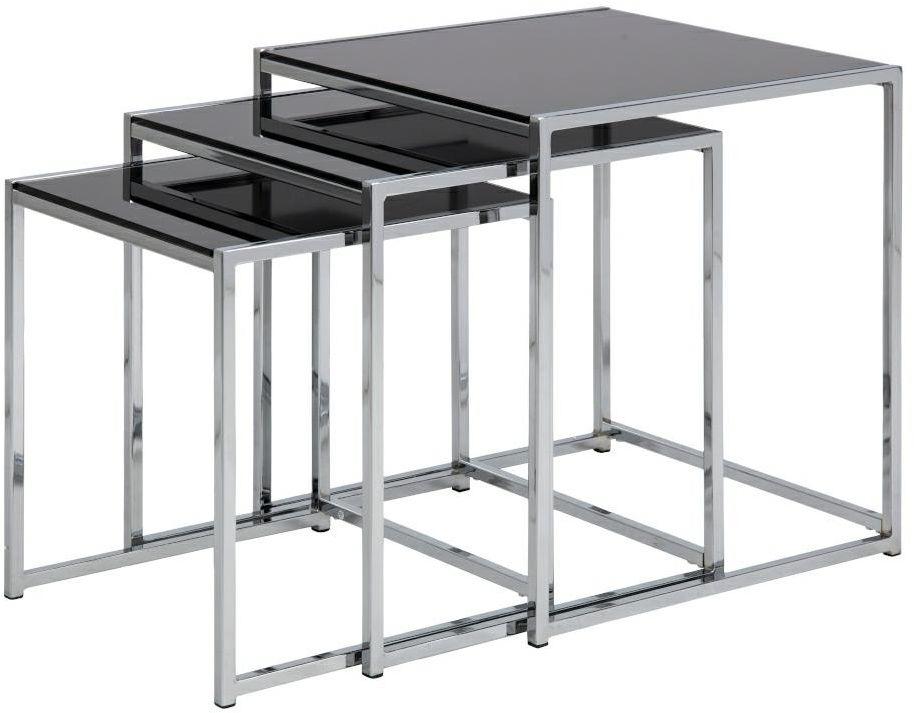 Zestaw stolików CROSS szklany, czarny-chrom