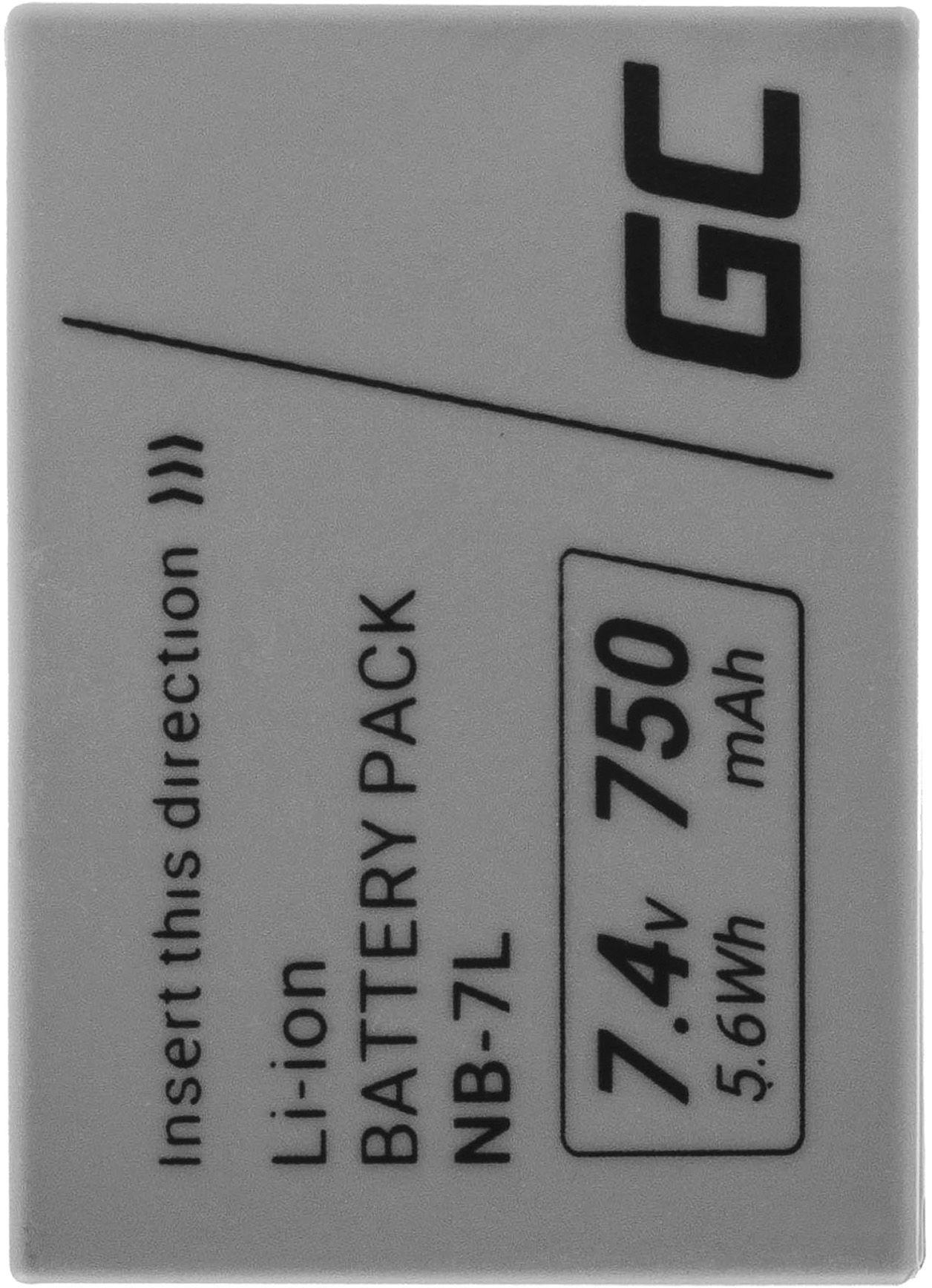 Akumulator Bateria Green Cell  NB-7L NB7L do Canon PowerShot SX30 IS G10 G11 G12, Full Decoded, 7.4V 750mAh