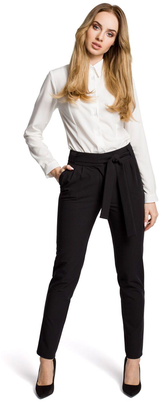 M363 Spodnie chino z paskiem czarne