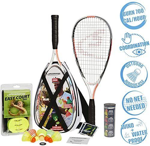 Speedminton  Zestaw S900  oryginalny zestaw do badmintona/crossmintona, profesjonalny zestaw z rakietami węglowymi, w zestawie: 5 lotek Speeder , torba