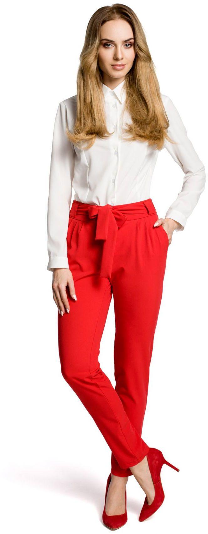M363 Spodnie chino z paskiem czerwone