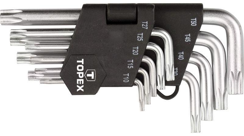 Klucze Torx krótkie T10-T50 stal CrV (zestaw 9 szt.) 35D960