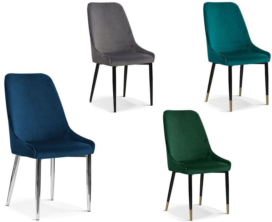 Krzesło tapicerowane VILI nogi metalowe lub dębowe kolory