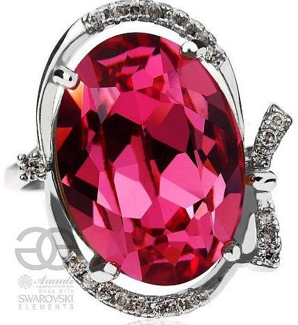 SWAROVSKI piękny różowy pierścionek ROSE SREBRO