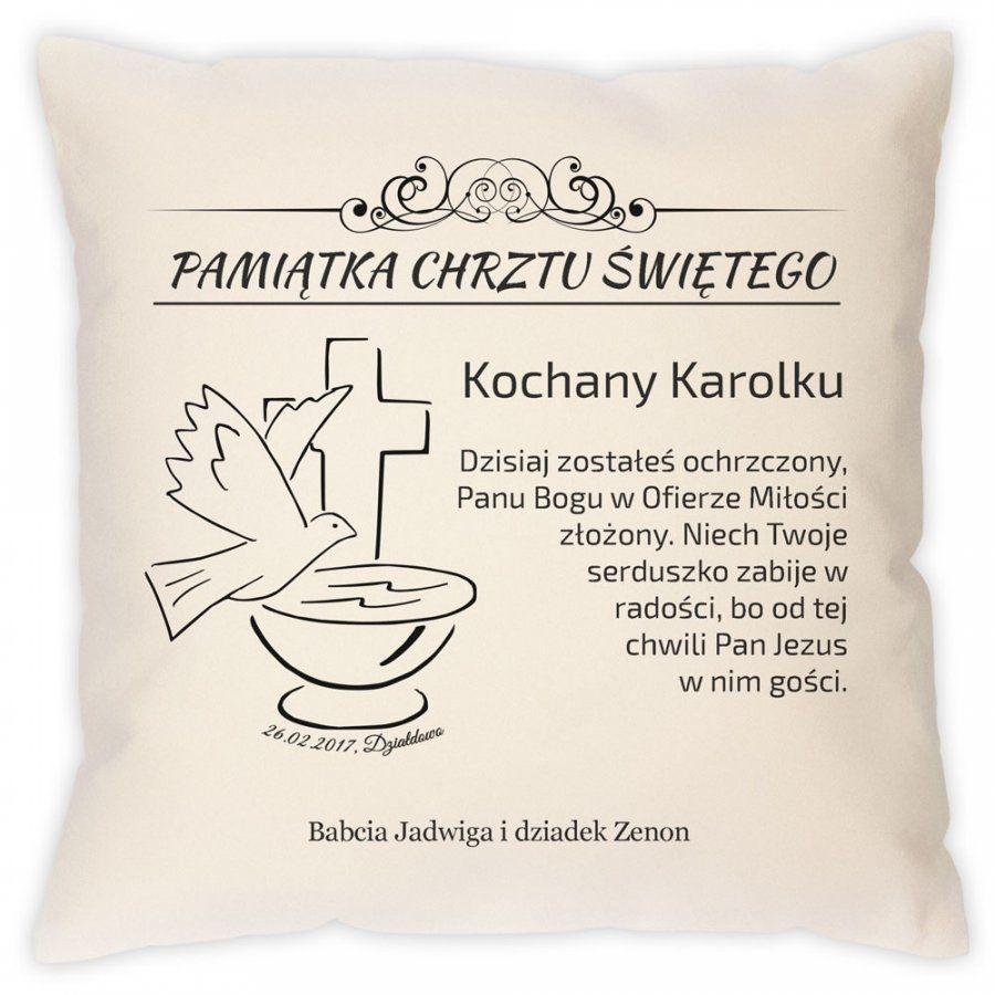 Poduszka personalizowana z nadrukiem PAMIĄTKA CHRZTU