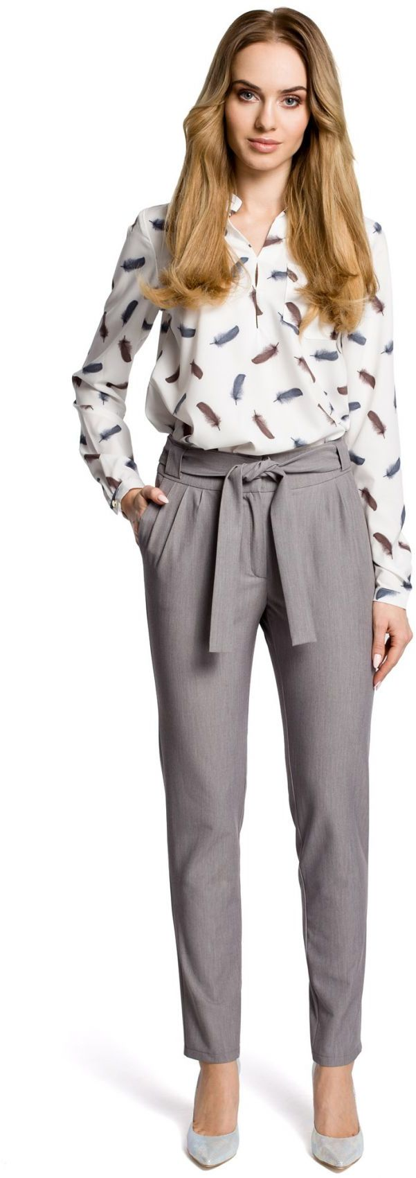 M363 Spodnie chino z paskiem szare