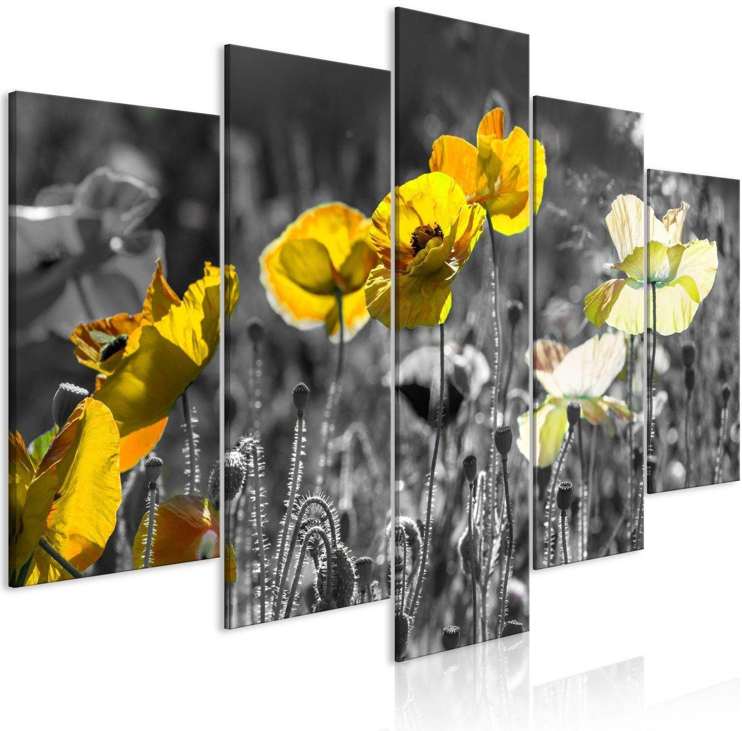 Obraz - żółte maki (5-częściowy) szeroki