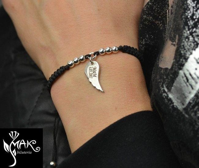 BR856 BRANSOLETKA skrzydło anioła srebrna sznurek