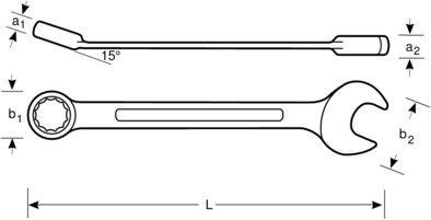 klucz płasko-oczkowy z dwukierunkową grzechotką M12 Bahco [1RM-12]