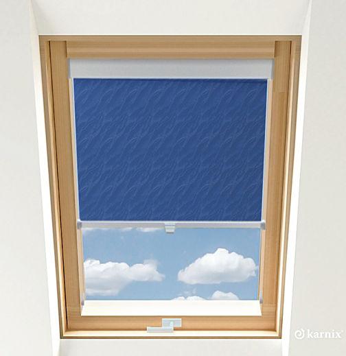 Roleta do okien dachowych BASIC AQUA - Blue / Srebrny