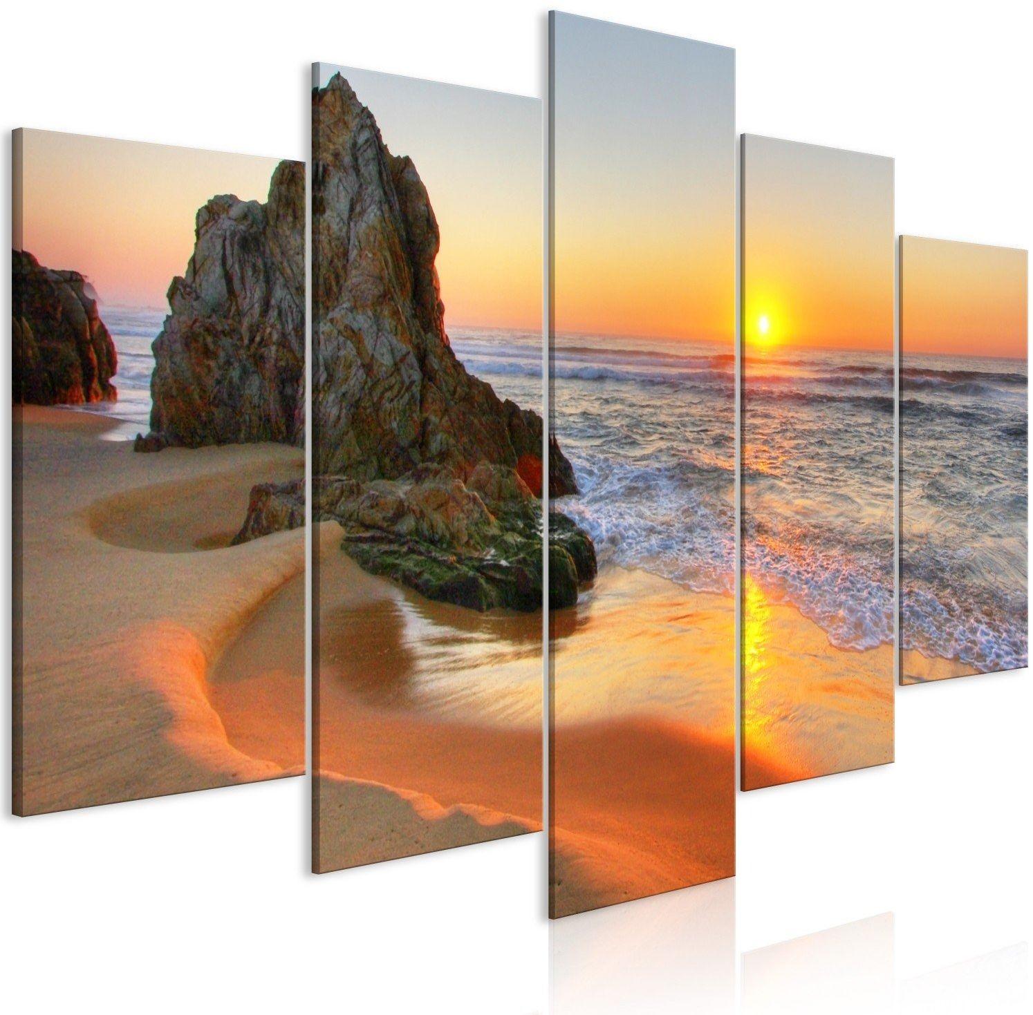 Obraz - spotkanie o zachodzie słońca (5-częściowy) szeroki