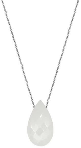 Srebrny naszyjnik 925 biała kropla kamień księżycowy