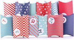 pajoma Kalendarz adwentowy Pillow, 24 pudełka do napełniania, w zestawie naklejki, niebieski