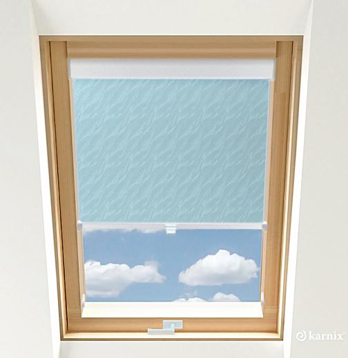 Roleta do okien dachowych - AQUA - Light Blue / Biały