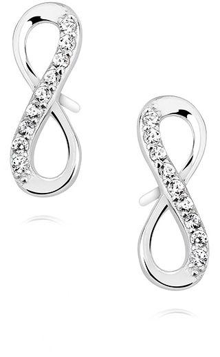 Delikatne rodowane srebrne kolczyki celebrytka nieskończoność infinity z cyrkoniami srebro 925 Z1107E