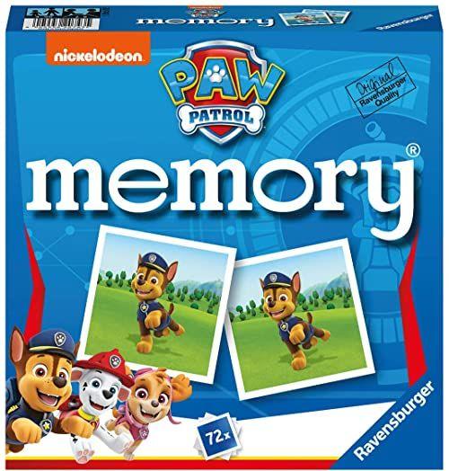 Ravensburger  20743 Paw Patrol Memory, klasyk gier dla wszystkich fanów serii TV Psi Patrol, gra dla 2-8 graczy od 4 lat