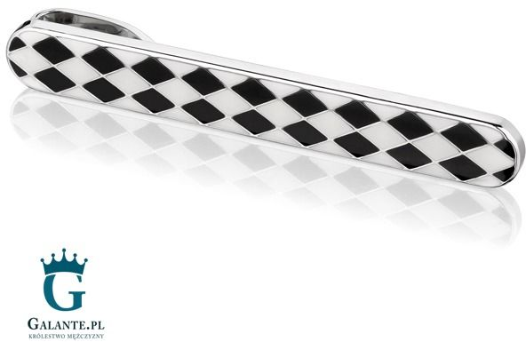 Biało-czarna spinka do krawata sk-0020