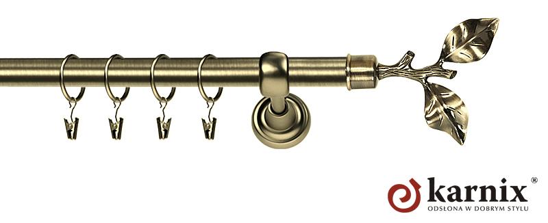 Karnisze Metalowe Rzymskie pojedynczy 25mm Gałązka antyk mosiądz