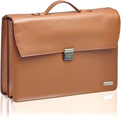 Packenger aktówka Bjorn do laptopa do 17 cali ze skóry torba na ramię, 43 cm, brązowy (vintage braun), 43 cm, torba na ramię