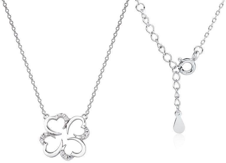 Rodowany srebrny naszyjnik gwiazd celebrytka koniczynka lucky cyrkonie srebro 925Z 1608N