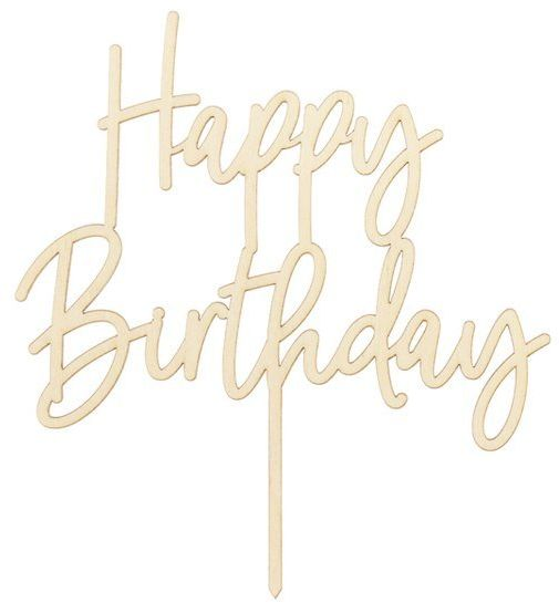 Topper drewniany na tort Happy Birthday 16,5 cm 1szt KPT57-100