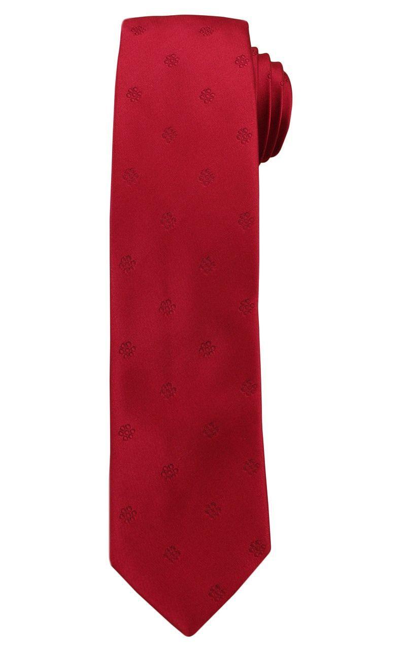 Czerwony Elegancki Krawat -Angelo di Monti- 6 cm, Męski, Jednokolorowy, w Tłoczone Kwiatki KRADM1458