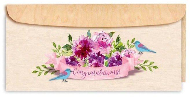 Karnet drewniany DL z drewnianą kopertą Gratulacje - Cozywood