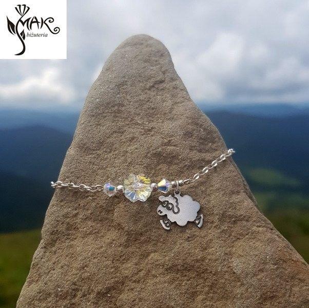 Swarovski BR944 BRANSOLETKA srebrny łańcuszek 925, górskie szczyty, gór, serce El.