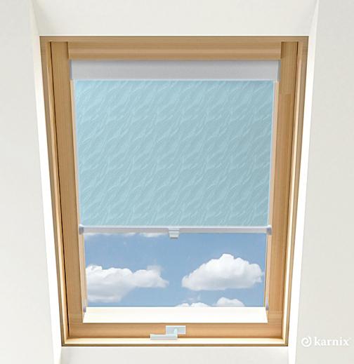 Roleta do okien dachowych - AQUA - Light Blue / Srebrny
