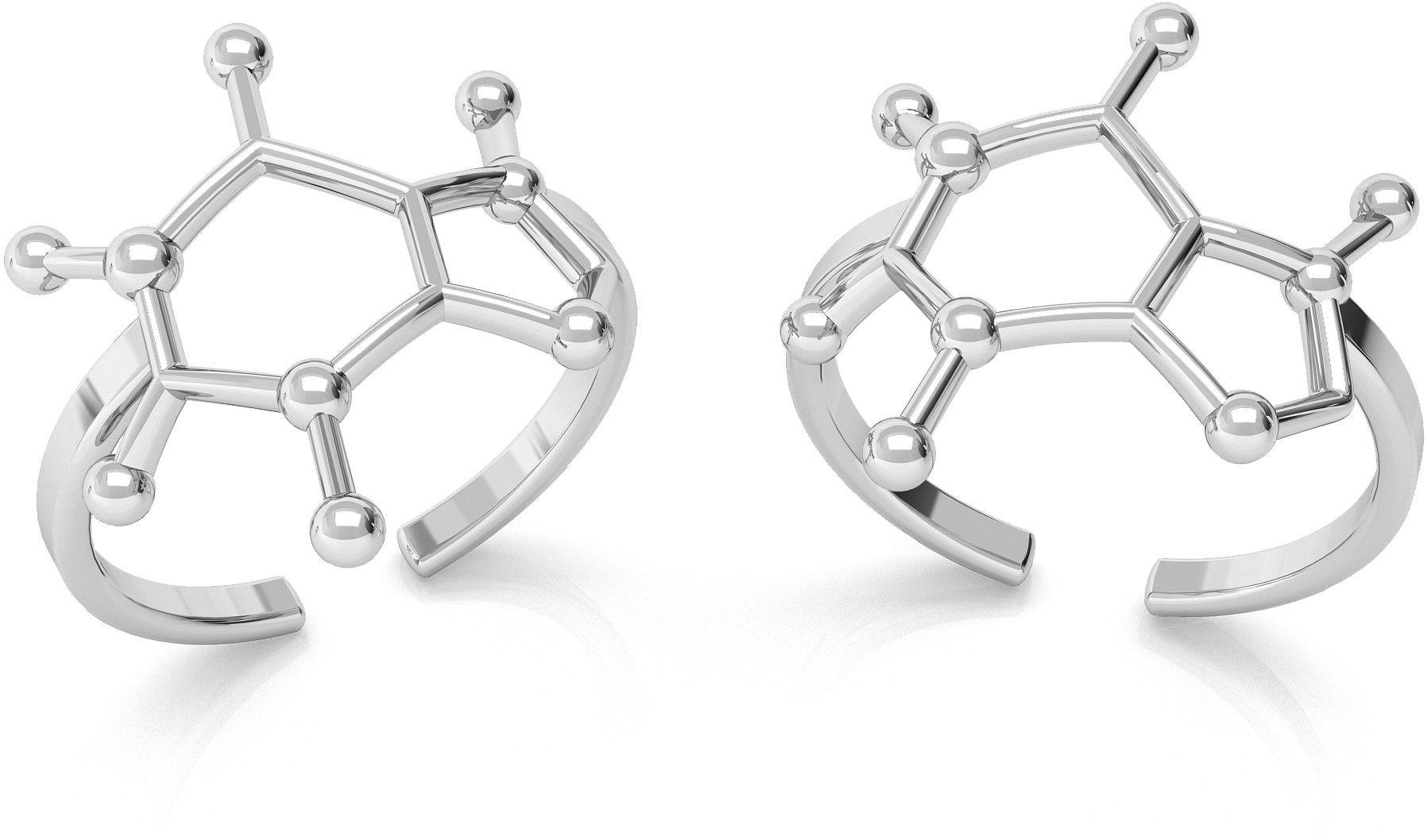 Srebrny pierścionek - kofeina, wzór chemiczny, srebro 925 : Srebro - kolor pokrycia - Pokrycie platyną